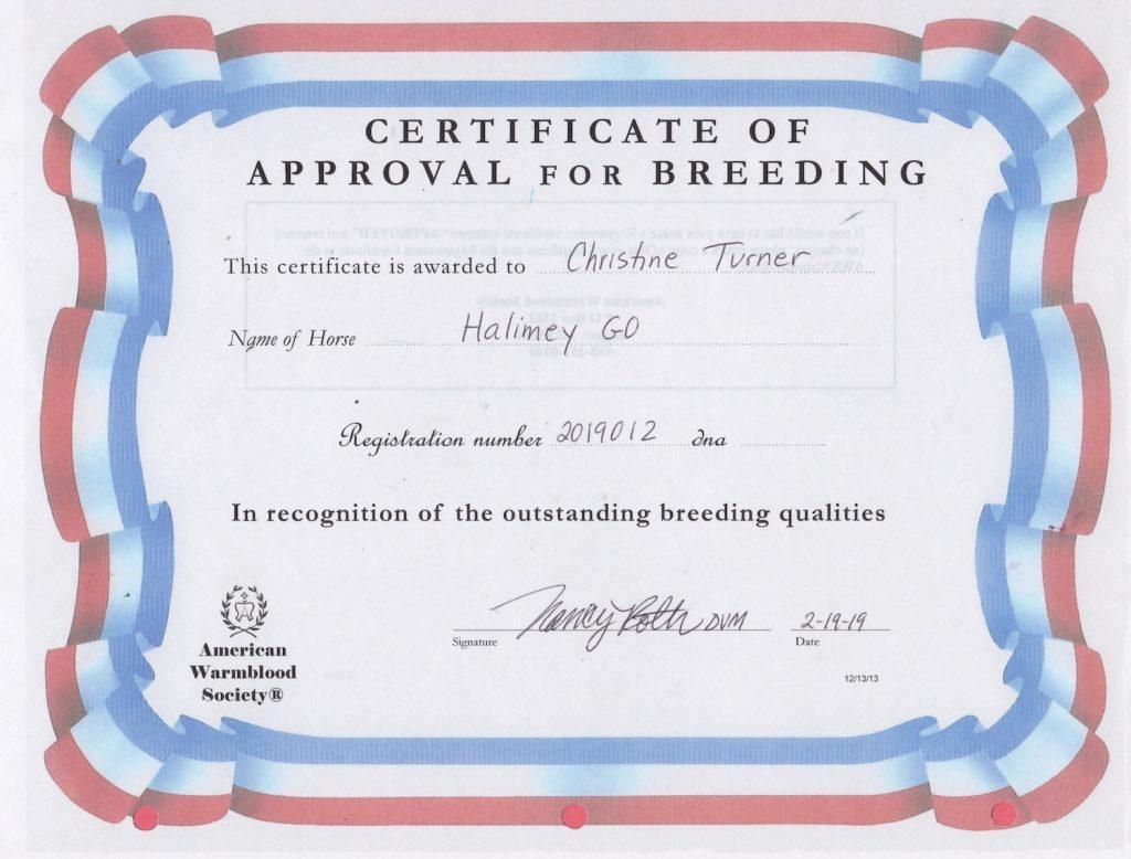 Halimey Go Cert of Breeding AWSSR copy